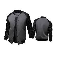 splicing leather sleeve big pockets single ted varsity jacket for men