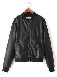 black stand collar faux pu leather jacket baseball uniform for men women
