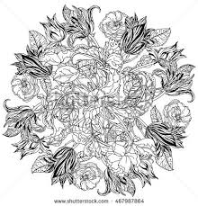 Small Picture Contoured Victorian Garden Flowers Leaves Mandala Stock Vector