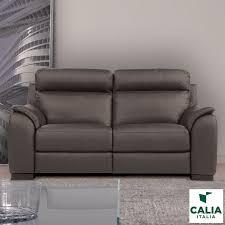 calia italia serena 2 seater power recliner grey italian leather sofa