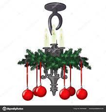 Reich Verzierte Hängenden Kronleuchter Mit Weihnachtsschmuck