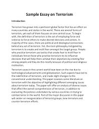 sample essay on terrorism