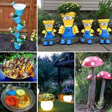 these crafts for the garden are so fun from glow in the dark planters to