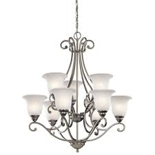 antique brushed nickel steel chandelier