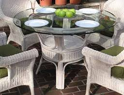 pole rattan 48 round dining table with glass top whitewash