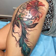 Dream Catcher Tattoo For Girl Amazing 32 Stunningly Dreamcatcher Tattoo On Thigh