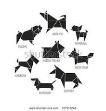 abstract black pet dog breed sign silhouette isolated on white freehand drawn cut out paper puppy dogs emblem