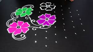 Step By Step Kolam Designs With Dots Simple Flower Rangoli Design With 9 To 5 Dots Easy Kolam Designs Rangoli Latest Designs
