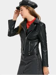 faux leather lace up biker jacket black s