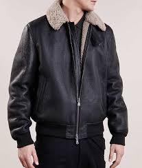mens fur collar aviator style black er jacket