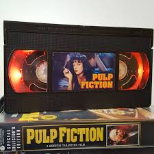 Retro Vhs Lamp Pulp Fiction Yellow Text 90s Quentin Tarantino Night Light Table Lamp Order Any Movie Man Cave Birthday Gift