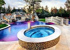 backyard pool with slides. Backyard Pool Design With Twin Slides Features Also Rock Stone Waterfall  And Playful Round Tub Light . Swimming Slide C