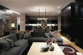 Modern Black And White Living Room Sensasional L Shaped Sofas With Black White Striped Wall Panels