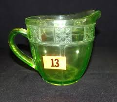 green depression glass pitcher lot vintage green depression glass pitcher green depression glass pitcher with pink