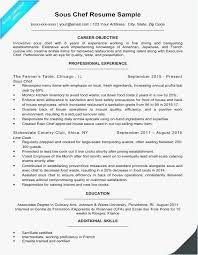 Executive Chef Resume Objective Free Templates Sous Chef Resume