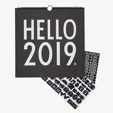 Design Letters Wall Calendar 2019 In Black Littlehipstar Com