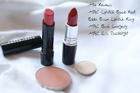 bobbi brown blush lipstick. mac lipstick brave red, e/s dazzlelight, blush gingerly, bobbi brown rosy review r
