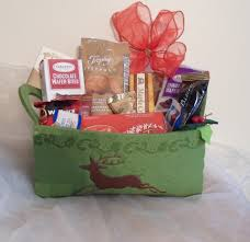green reindeer felt gift basket
