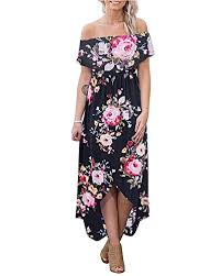 Dresses for <b>Women Summer Off Shoulder</b> - Floral Print Long Maxi ...