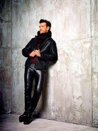 picture of with marsala shirt black leather jacket black shoes and dark colored scarf