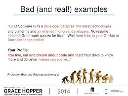 """Grace Hopper Resume Database Bad And Real Examples """"QQQ 12"""