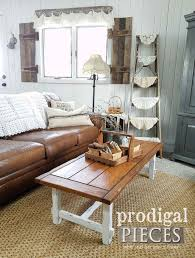 rustic farmhouse coffee table diy decor shared by larissa at prodigal pieces prodigalpieces