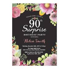 Surprise Floral 90th Birthday Invitation For Women Ladyprints