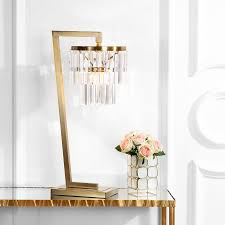safavieh callum 30 in brass gold clear chandelier table lamp