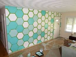 Paint Patterns Gorgeous Custom Colors Hexagon Wall Feature Living Romm Corinna Ashley