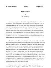 reflection essay sample personal essay samples reflective essay  reflection paper the little prince the little prince