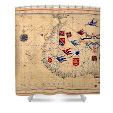 Vintage Nautical Charts Vintage Nautical Chart 1571 Shower Curtain