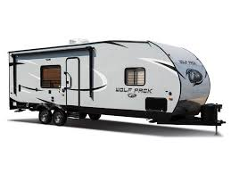 2019 forest river cherokee wolf pack 23pack15 trailer against a blank background