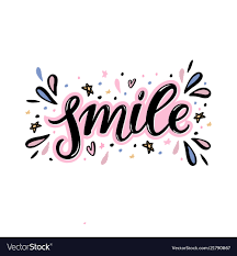 Word Design Smile Hand Lettering Word With Handdrawn Design