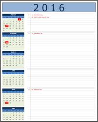 calendars with notes 2016 calendars excel calendars