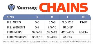 Yaktrax Pro Size Chart Yaktrax Chains