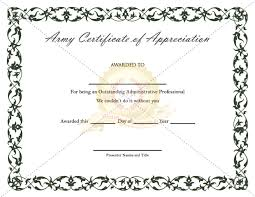 Military Certificate Templates Army Certificate Of Appreciation Template 42