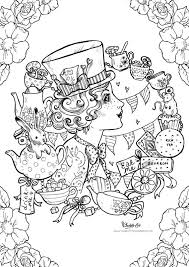 Small Picture Adult Colouring Page Mad Hatter Alice in Wonderland