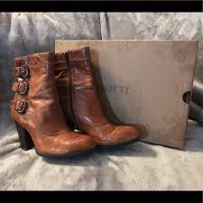 details about new born womens erie buckle leather boots shoes size 7 cognac w box