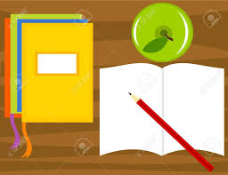 top view of desk with exercise books pencil apple and