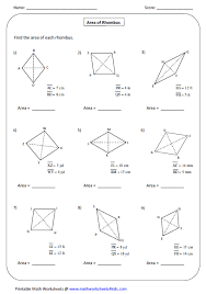 area rhombus large quadrilateral worksheets on making questions worksheet
