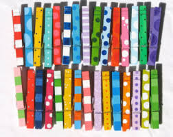 PAINTED CLOTHESPINS colorful patterns hand painted stripes polka dots