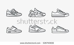 hanging converse shoes drawing. sneaker shoe minimalistic flat line outline stroke icon pictogram symbol set collection hanging converse shoes drawing