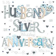 husband silver 25th wedding anniversary greeting card cards love