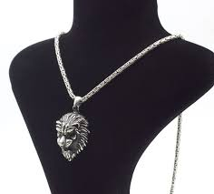 925 italian sterling silver chain with lion head pendant 62 cm