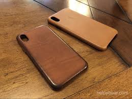 my aged iphone x saddle brown leather case on the left and new saddle brown leather iphone xs max on the right observe how wear and tear that would
