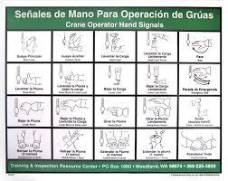 Crane Operator Hand Signal Chart Spanish Hand Signals