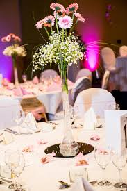 Mirror Tiles For Table Decorations Simple gerbera lily vase on a mirror tile base Wedding table 19