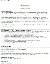 Cv Primary School Teacher Primary Teacher Cv Example Icover Org Uk