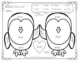 Color By Number Addition Worksheets For Kindergarten Download Them