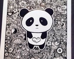 Small Picture Panda hand drawn Etsy